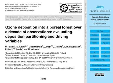 Ozone Deposition Into a Boreal Forest Ov... by Rannik, Ü.