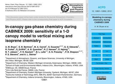In-canopy Gas-phase Chemistry During Cab... by Bryan, A. M.