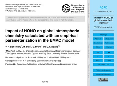 Impact of Hono on Global Atmospheric Che... by Elshorbany, Y. F.