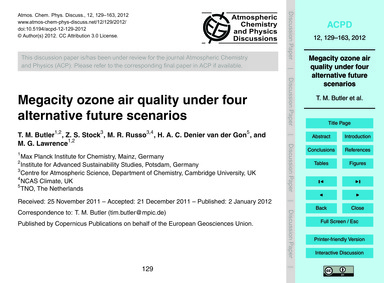 Megacity Ozone Air Quality Under Four Al... by Butler, T. M.