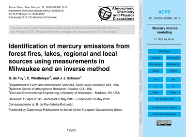 Identification of Mercury Emissions from... by De Foy, B.