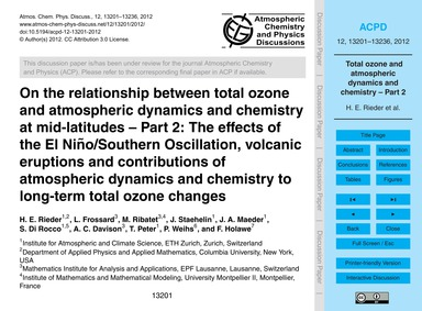 On the Relationship Between Total Ozone ... by Rieder, H. E.