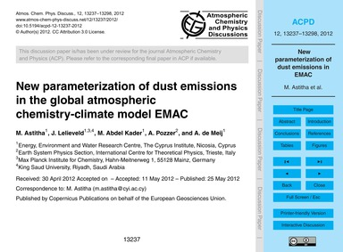 New Parameterization of Dust Emissions i... by Astitha, M.