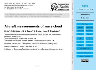 Aircraft Measurements of Wave Cloud : Vo... by Cui, Z.