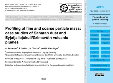 Profiling of Fine and Coarse Particle Ma... by Ansmann, A.