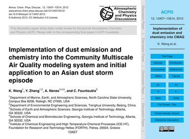 Implementation of Dust Emission and Chem... by Wang, K.