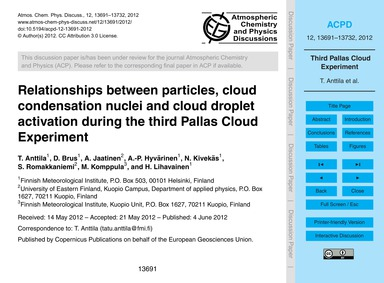 Relationships Between Particles, Cloud C... by Anttila, T.
