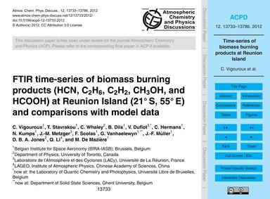 Ftir Time-series of Biomass Burning Prod... by Vigouroux, C.