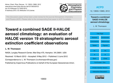 Toward a Combined Sage Ii-haloe Aerosol ... by Thomason, L. W.