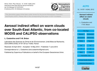 Aerosol Indirect Effect on Warm Clouds O... by Costantino, L.