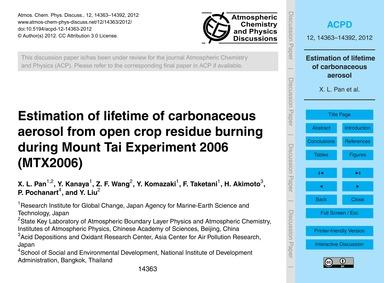 Estimation of Lifetime of Carbonaceous A... by Pan, X. L.