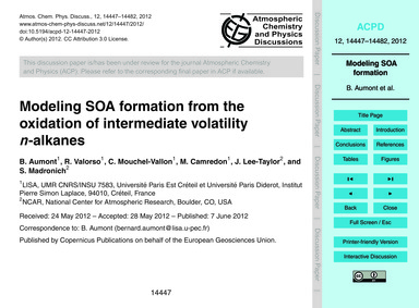Modeling Soa Formation from the Oxidatio... by Aumont, B.