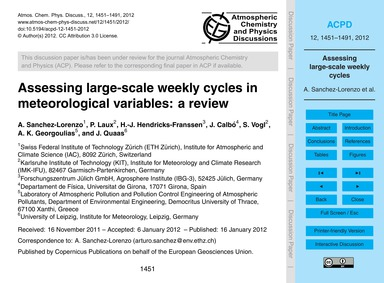Assessing Large-scale Weekly Cycles in M... by Sanchez-lorenzo, A.