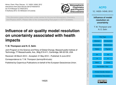 Influence of Air Quality Model Resolutio... by Thompson, T. M.