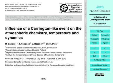 Influence of a Carrington-like Event on ... by Calisto, M.