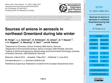 Sources of Anions in Aerosols in Northea... by Fenger, M.