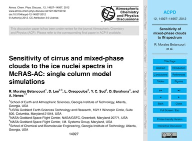 Sensitivity of Cirrus and Mixed-phase Cl... by Morales Betancourt, R.