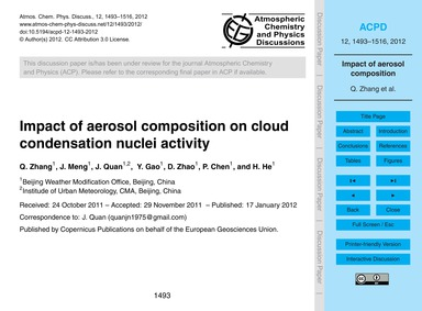 Impact of Aerosol Composition on Cloud C... by Zhang, Q.