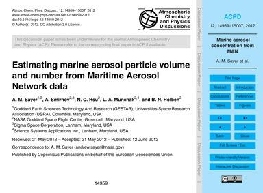 Estimating Marine Aerosol Particle Volum... by Sayer, A. M.