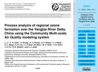 Process Analysis of Regional Ozone Forma... by Li, L.