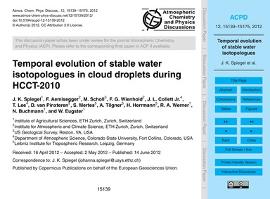 Temporal Evolution of Stable Water Isoto... by Spiegel, J. K.