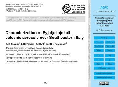 Characterization of Eyjafjallajökull Vol... by Perrone, M. R.