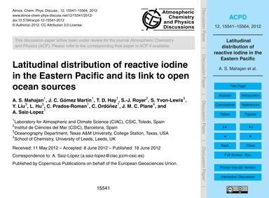 Latitudinal Distribution of Reactive Iod... by Mahajan, A. S.