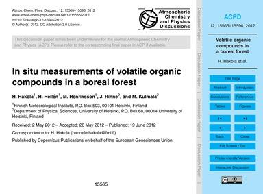 In Situ Measurements of Volatile Organic... by Hakola, H.