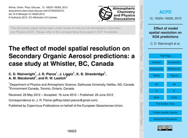 The Effect of Model Spatial Resolution o... by Wainwright, C. D.