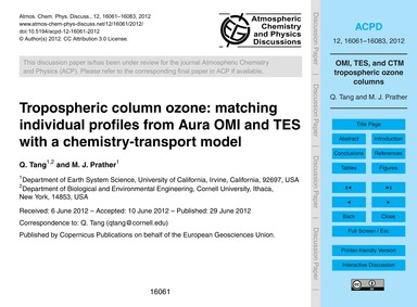 Tropospheric Column Ozone: Matching Indi... by Tang, Q.