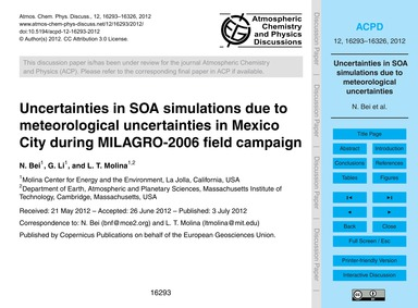 Uncertainties in Soa Simulations Due to ... by Bei, N.