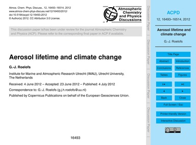 Aerosol Lifetime and Climate Change : Vo... by Roelofs, G.-j.