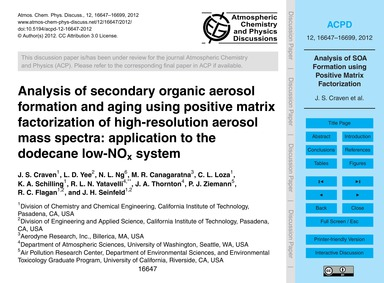 Analysis of Secondary Organic Aerosol Fo... by Craven, J. S.