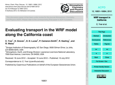 Evaluating Transport in the Wrf Model Al... by Yver, C.