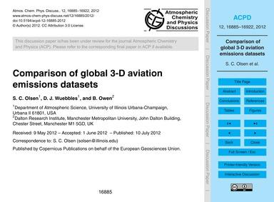 Comparison of Global 3-d Aviation Emissi... by Olsen, S. C.