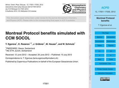 Montreal Protocol Benefits Simulated wit... by Egorova, T.