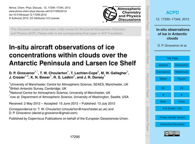 In-situ Aircraft Observations of Ice Con... by Grosvenor, D. P.