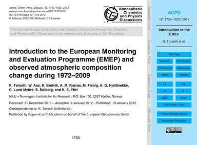 Introduction to the European Monitoring ... by Tørseth, K.