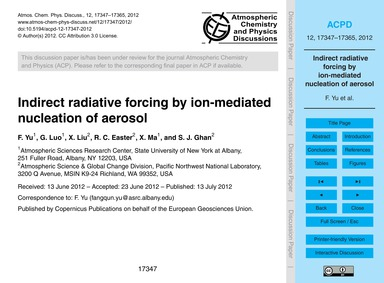 Indirect Radiative Forcing by Ion-mediat... by Yu, F.