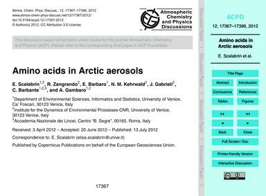 Amino Acids in Arctic Aerosols : Volume ... by Scalabrin, E.