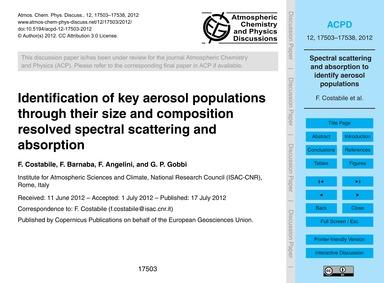 Identification of Key Aerosol Population... by Costabile, F.