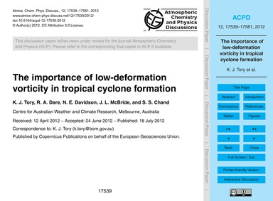 The Importance of Low-deformation Vortic... by Tory, K. J.