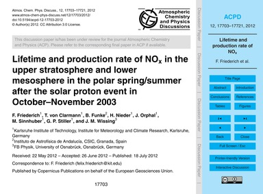 Lifetime and Production Rate of NoX in t... by Friederich, F.