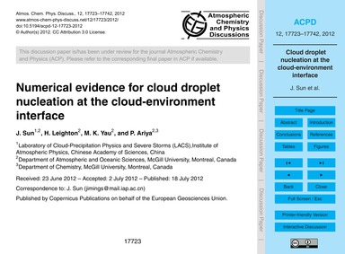 Numerical Evidence for Cloud Droplet Nuc... by Sun, J.