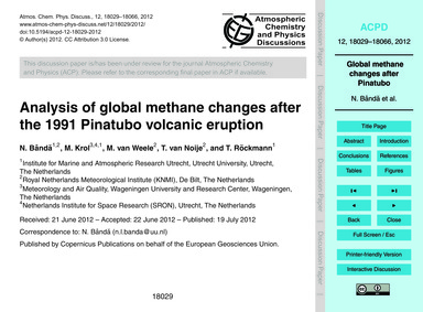 Analysis of Global Methane Changes After... by Bândă, N.