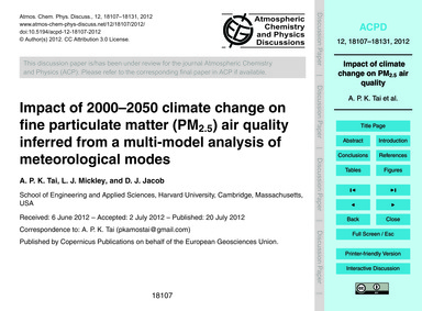 Impact of 2000–2050 Climate Change on Fi... by Tai, A. P. K.