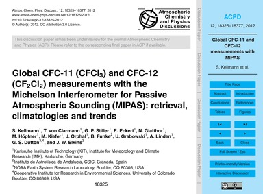 Global Cfc-11 (Cfcl3) and Cfc-12 (Cf2Cl2... by Kellmann, S.