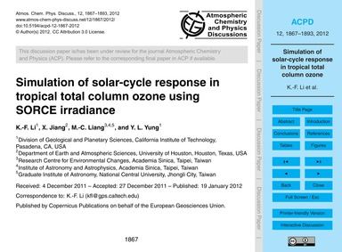 Simulation of Solar-cycle Response in Tr... by Li, K.-f.