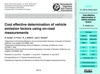 Cost Effective Determination of Vehicle ... by Hudda, N.