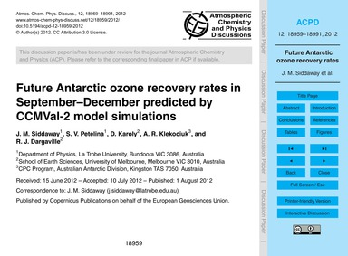 Future Antarctic Ozone Recovery Rates in... by Siddaway, J. M.